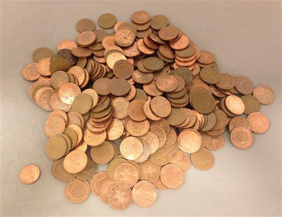 LOT INCLUDING 279 BRITISH TWO PENCE, 1 ONE PENCE AND 1 TWENTY PENCE