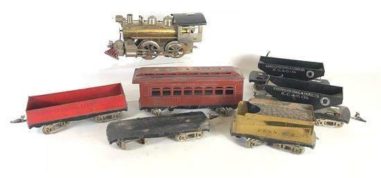 RARE #1 GAUGE ELEKTOY TRAIN WITH ENGINE AND 5 CARS AND FLATBED