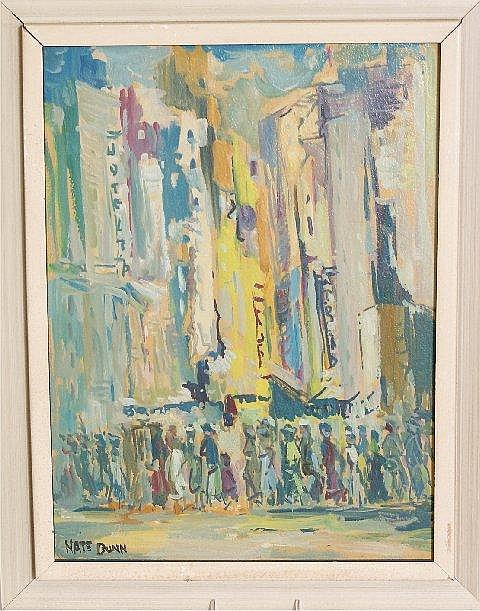 NATE DUNN (1896 - ? PITTSBURGH, PA) OIL ON BOARD CITY STREET SCENE, SIGNED, 12