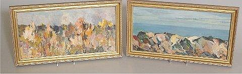 PAIR NATE DUNN (1896 - ? PITTSBURGH, PA) FIELD AND ROCKY COAST, SIGNED, 15