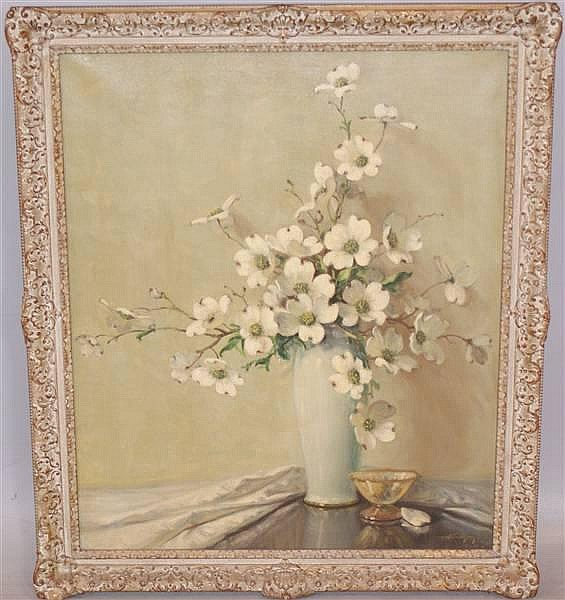 AUBREY DALE GREER (1904-? AUSTIN, TEXAS) SIGNED EARLY 20TH CENTURY OIL ON CANVAS TABLE STILL LIFE WITH DOGWOOD FLOWERS, SIGNED LOWER RIGHT, 30