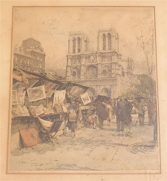 LUIGI KASIMER (1881-1962 AUSTRIAN) PENCIL SIGNED AND NUMBERED LITHOGRAPH FRENCH MARKET SCENE, 177/300, 15