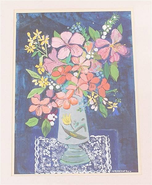 HARRIET KIRKPATRICK (1877-1962 COLUMBUS, OH) OIL ON PAPER FLORAL STILL LIFE, SIGNED LOWER RIGHT, 11