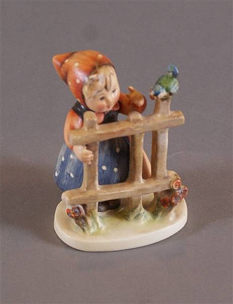"""HUMMEL FIGURINE """"SIGNS OF SPRING"""" #203 2/0 2 MARK, MARKED GERMANY, TWO SHOES, RARE, 4""""H"""