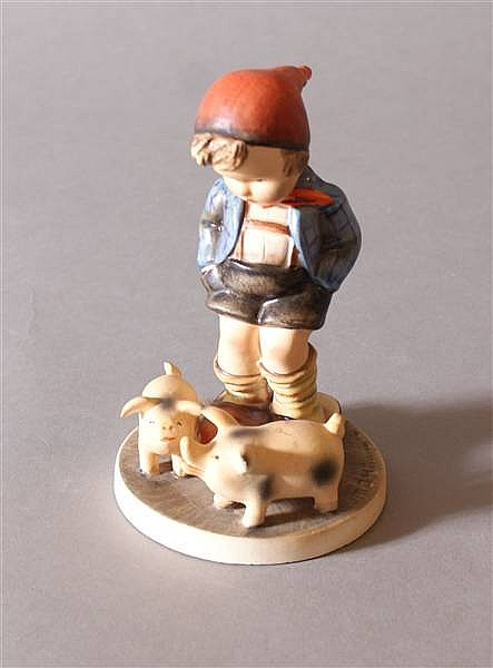 "HUMMEL FIGURINE ""FARM BOY #66 FIRST MARK, U.S. ZONE GERMANY, 5 1/2""H"