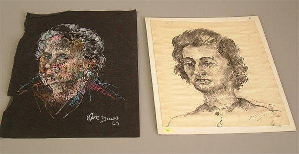 NATE DUNN ( 1896 - ? PITTSBURGH PA ) TWO PORTRAIT SKETCHES OF WOMEN INCLUDING PASTEL  &  PENCIL, UNFRAMED, SIGNED LOWER RIGHT, 12