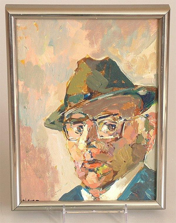 NATE DUNN (1896 - ? PITTSBURGH PA ) OIL ON MASONITE SELF PORTRAIT, SIGNED LOWER LEFT, 9