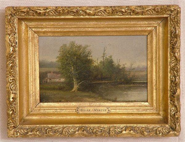 SILAS MARTIN ( 1841 - 1906 COLUMBUS OH ) OIL ON WOOD PANEL LANDSCAPE OF POND  &  HOMESTEAD, UNSIGNED, 8