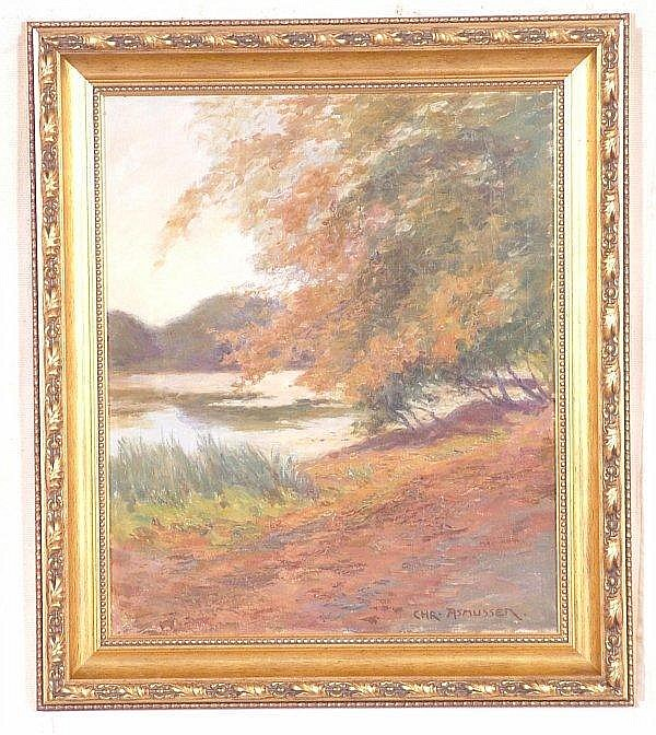 CHRISTIAN ASMUSSEN ( 1873 - 1940 DANISH ) OIL ON CANVAS FALL LANDSCAPE W/LAKE, SIGNED LOWER RIGHT, 23