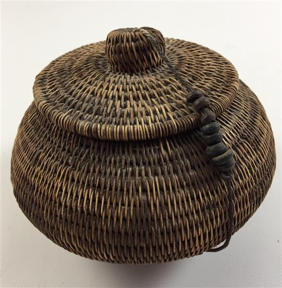 African Baskets With Lids: 2 AFRICAN COILED HAND WOVEN BASKET WITH LID AND WIDE BOWL, 5