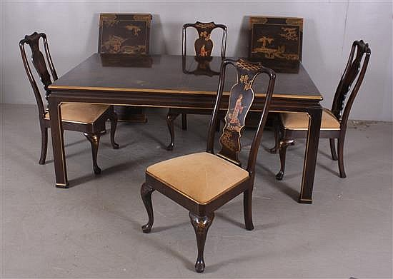 HENREDON FURNITURE CO. ASIAN STYLE HIGHL DECORATED DINING ...