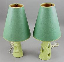 PAIR GREEN MID CENTURY MODERN CERAMIC VANITY LAMPS WITH VINTAGE GREEN SHADES, 19