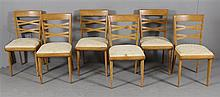 6 HEYWOOD WAKEFIELD MID CENTURY MODERN M152 SIDE CHAIRS.  SOME WEAR TO FINISH AND STAINED VINTAGE UPHOLSTERY. 17