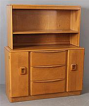 HEYWOOD WAKEFIELD MID CENTURY MODERN THREE-DRAWER BUFFET WITH CHINA CABINET TOP M598 AND M592.  MISSING GLASS SLIDING DOORS.