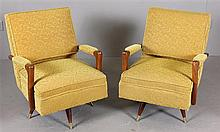PAIR GOLD MID CENTURY MODERN CHAIRS ON SWIVEL BASE, NICE ORIGINAL TEXTURED UPHOLSTERY, 25