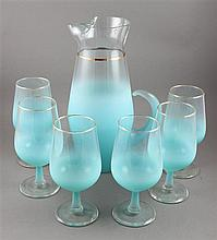 7 PIECE MID CENTURY MODERN TURQUOISE FROSTED GLASS BEVERAGE SET, VERY GOOD CONDITION WITH MINOR WEAR TO GOLD, PITCHER IS 12