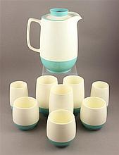 9 PIECE MID CENTURY MODERN TURQUOISE AND WHITE PLASTIC BEVERAGE SET BY BOPP-DECKER, VACUUM CARAFE IS 8