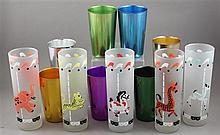 12 PIECES MID CENTURY MODERN BEVERAGE GLASSES INCLUDING 7 BASCAL ITALIAN ALUMINUM TUMBLERS AND 5 CAROUSEL FROSTED