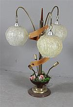 MID CENTURY MODERN TABLE LAMP WITH ORIGINAL HANGING SHADES AND BENT WOOD SWIRL, 33