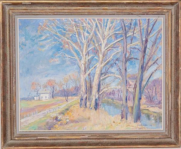 EMERSON BURKHART (COLUMBUS, OHIO 1906-1969) OIL ON CANVAS , TREES, 21 1/2