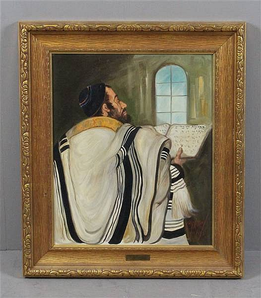 LOUIS SPIEGEL (1901-1975 ENGLAND) OIL ON BOARD, PORTRAIT OF RABBI