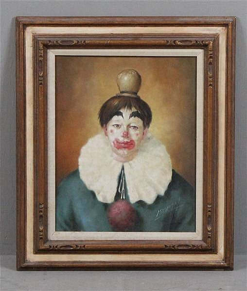 LOUIS SPIEGEL (1901-1975 ENGLAND) OIL ON BOARD, PORTRAIT OF CLOWN