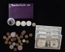 MIXED LOT INCLUDING 1984 U.S. PROOF SET, 5 ONE DOLLAR SILVER CERTIFICATES, (3) 40% KENNEDY HALF DOLLARS, LINCOLN WHEAT CENTS, BUFFAL...