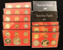 10 U.S. PROOF SETS INCLUDING (2) 1974, (2) 1977, (2) 1978, (2) 1979, AND (2) 1980