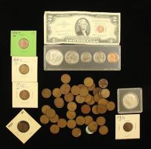 MIXED LOT INCLUDING SERIES 1953 TWO DOLLAR RED SEAL NOTE, 1965 DATE SET, 1966 KENNEDY HALF DOLLAR, AND LINCOLN WHEAT CENTS