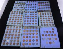 5 WHITMAN ALBUMS INCLUDING BUFFALO NICKEL (PARTIAL SET), 3 LINCOLN WHEAT CENT (PARTIAL SETS), AND CANADIAN SMALL CENT (ALL FIRE DAMAGE)