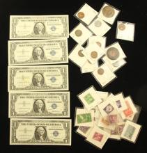 MIXED LOT INCLUDING 5 SERIES 1957 ONE DOLLAR SILVER CERTIFICATES, POSTAGE STAMPS, LINCOLN WHEAT CENTS, AND FOREIGN COINS