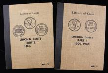 2 LIBRARY OF COIN LINCOLN CENT ALBUMS VOL I AND II (PARTIAL SETS)