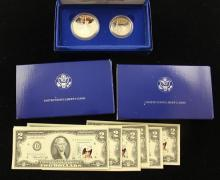 MIXED LOT INCLUDING 12 SERIES 1976 TWO DOLLAR FEDERAL RESERVE NOTES WITH POSTMARK AND STAMP AND (3) 1986 U.S. LIBERTY ELLIS ISLAND C...