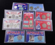 (2) U.S. BICENTENNIAL COIN SETS, (2) APOLLO 11 25TH ANNIVERSARY COMMEMORATIVE SETS, WORLD WAR II STAMP/COIN COLLECTION, SUSAN B ANTH...