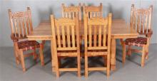 ERNEST THOMPSON (ALBUQUERQUE, NEW MEXICO) OAK DINING TABLE WITH 18