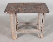 WESTERN STYLE SIDE TABLE WITH LOG BASE AND METAL TOP WITH LIVESTOCK BRAND, 28