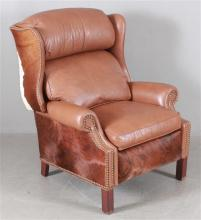 WESTERN STYLE BROWN LEATHER AND COWHIDE RECLINER WITH NAILHEAD DECOR, 36