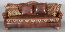 PAUL ROBERT LEATHER, SUEDE AND FABRIC WESTERN STYLE SOFA, SEAT CUSHION REVERSES LEATHER TO FABRIC, 85