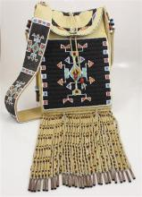LEATHER BEADED NATIVE AMERICAN POUCH, SIGNED DOUG A. FAST HORSE