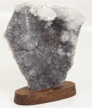 DRUZY AND QUARTZ CLUSTER SPECIMEN WITH WOOD DISPLAY, 8
