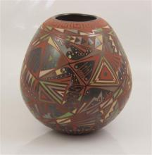 MEXICAN OLLA POTTERY PIECE BY NATY ORTEGA AND CESAR NUNEZ DECORATED WITH MIMBRES SYMBOLS, 7
