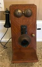 CHICAGO TELEPHONE SUPPLY COMPANY OAK DOUBLE BELL WALL PHONE, 19