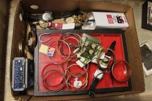 BOX LOT COSTUME JEWERLY, TABLE DISPLAY BOXES, WATCHES AND STAMPS