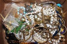BOX LOT COSTUME JEWELRY INCLUDING BEADED NECKLACES, BELT AND BRACELET