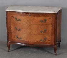 FRENCH STYLE SERPENTINE FRONT DRESSER WITH INLAY AND MARBLE TOP, 42