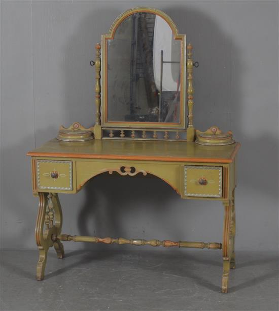 1920 39 39 s vanity painted green with mirror and stretcher base for Mirror 45 x 60