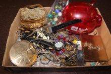BOX LOT COSTUME JEWELRY INCLUDING CUFFLINKS, CHAINS, WATCHES, TRINKET BOX AND PLASTIC PIGGY BANK