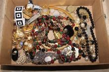 BOX LOT COSTUME JEWELRY INCLUDING BEADED NECKLACES, FOREIGN COINS AND CHAIN NECKLACES