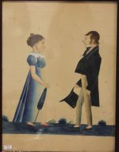 DATED 1809 DRAWING MAN AND WOMAN, SIGNED H. I. SMALL, OVERALL SIZE 20.25