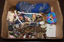 BOX LOT COSTUME JEWELRY INCLUDING CHAIN AND BEADED NECKLACES, BRACELET AND SCARVES
